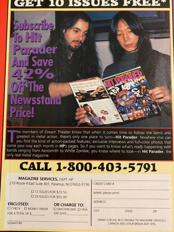 Dream Theater, Hit Parader Magazine, Full Page Promotional Ad