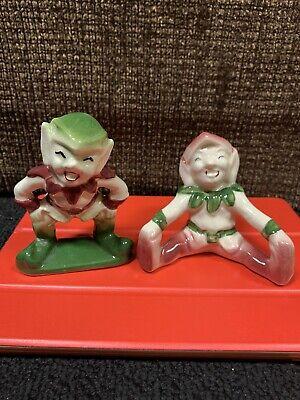 Vintage Antique Ceramic Elves Pixie Porcelain Christmas 1950s Whimsical Elf Imp