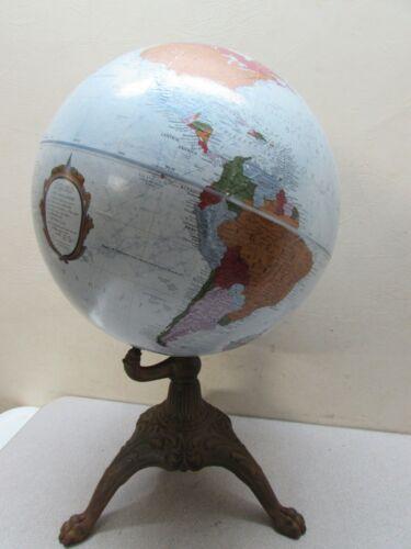 Antique Cast Iron 3 Legged Base World Globe Replogle