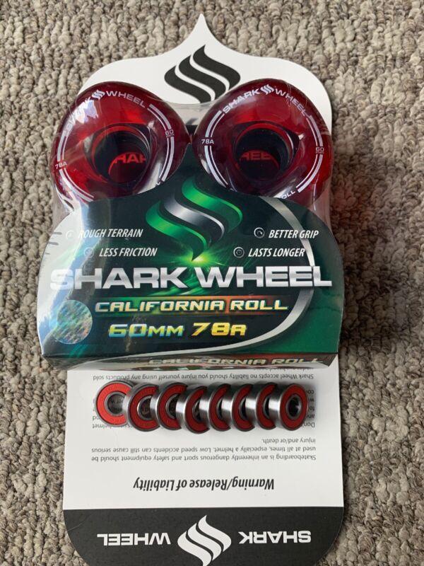 Shark Wheels Longboard Sidewinder Tech 60mm 78a Trans Red Free Bearings New!