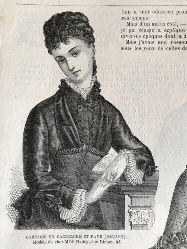 MODE ILLUSTREE SEWING PATTERN  Oct 22,1876- APRONS, CHILD DRESSES