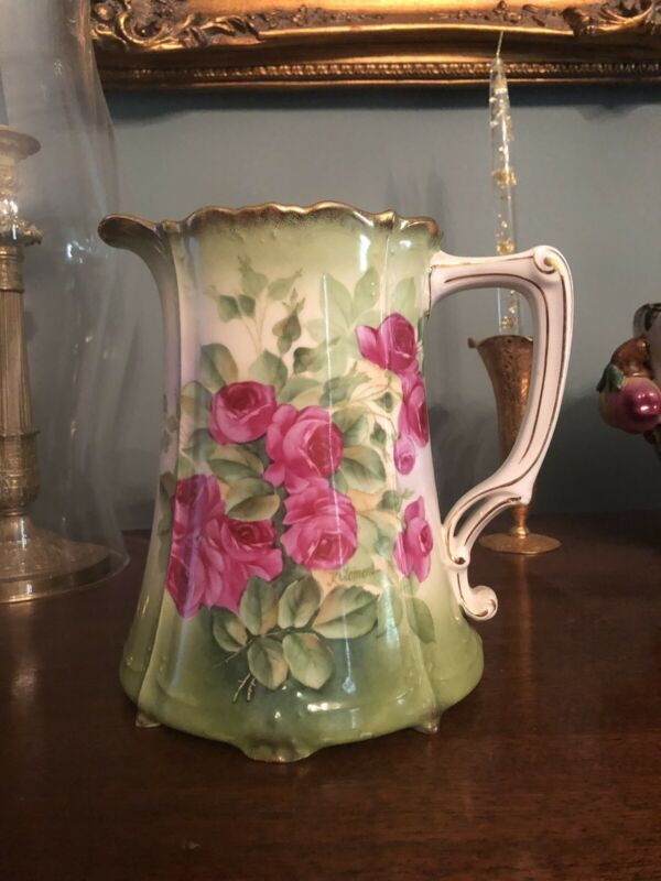 Antique Hand Painted Bavarian Pitcher Roses Signed K Clement