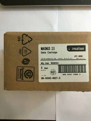 NEW 5/PK Imation MAGNUS 2.5GB ,  DC9250 SLR4  Data Tape Cartridge 46168 - Sealed