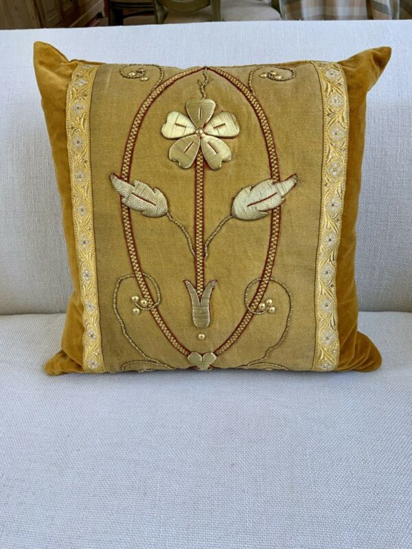 19th Century French Gold Work Pillow Cushion-Ecclesiastical Stumpwork