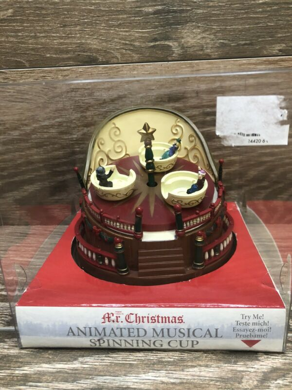 Mr. Christmas Animated Musical Spinning Cup Fair Ride Wind Up Music Box