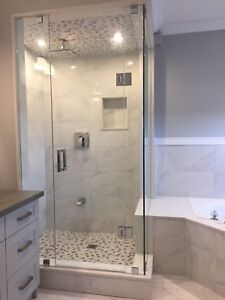FRAMELESS SHOWER GLASS DOORS ENCLOSURES BATHTUB MIRRORS RAILINGS