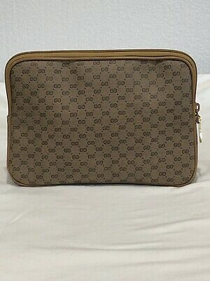 Authentic Vintage Gucci Italy Clutch Purse Cosmetic Bag GG monogram 1970's VGC