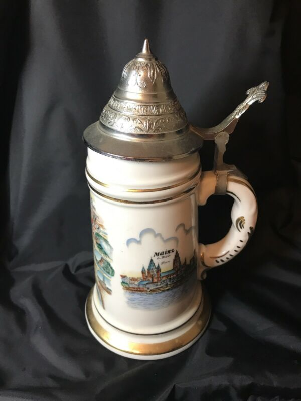 "Vintage German Beer Stein Der Rhein Pewter Lid  9"" Tall Gold Trim Naked Woman"