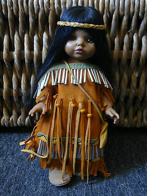 One of a Kind  Hand Beaded Native American Girl In Buckskin Doll - 14