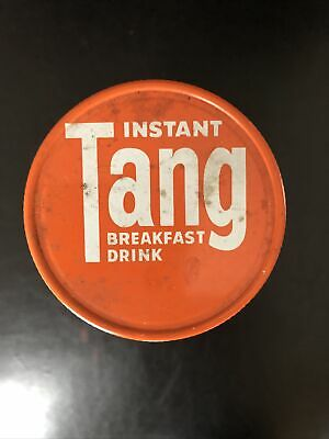 Vintage Tang Instant Breakfast Drink Glass Jar Tin Lid Nice!
