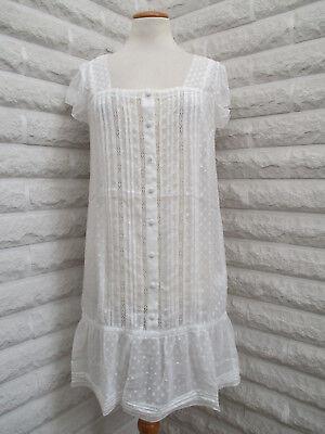 Sexy Designer Kleider (Designer Kleid weiß Chiffon Spitze Rüschen volant Gr 36 NEU Dessous sexy Blogger)