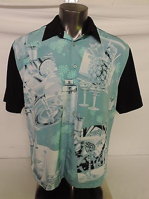 The Havernera Co Size XL Club Shirt Martini Shakers Alcohol Pineapple Party Teal ()