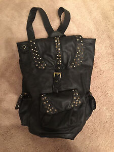 Black Pleather Studded Backpack! $10