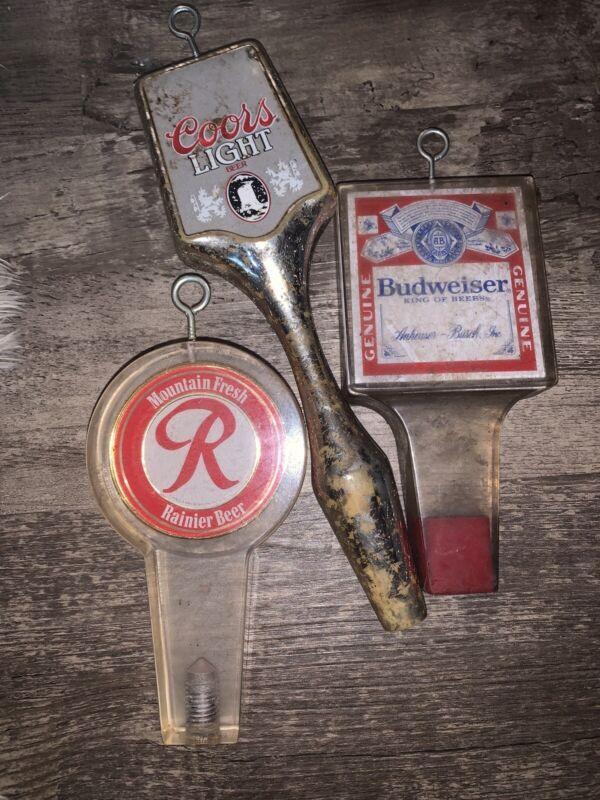 Vintage Beer Draft Tap Handles 3 Total Budweiser Rainier  Coors Light
