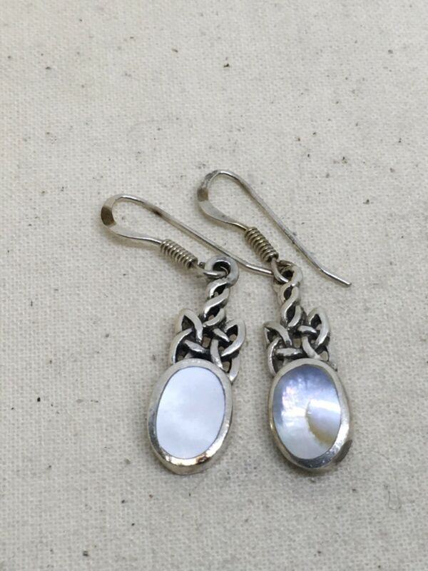 """Sterling Silver 1.5"""" MOP Celtic Dangle Earrings 3.7g (14-21)"""