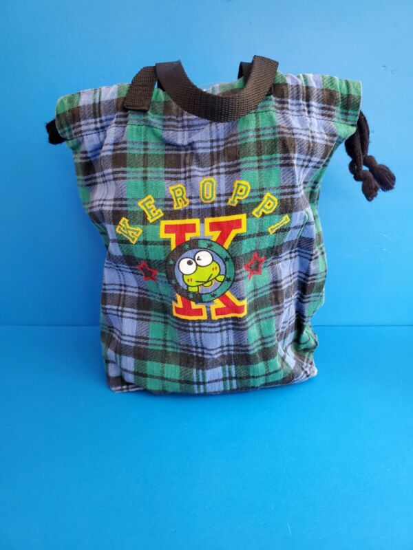 "Sanrio Keroppi Plaid Drawstring Bag 10"" Tall"