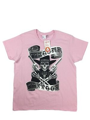 New Gildan Customink Womens Size Large Pink Graphic Six Gunz Tattoos T Shirt