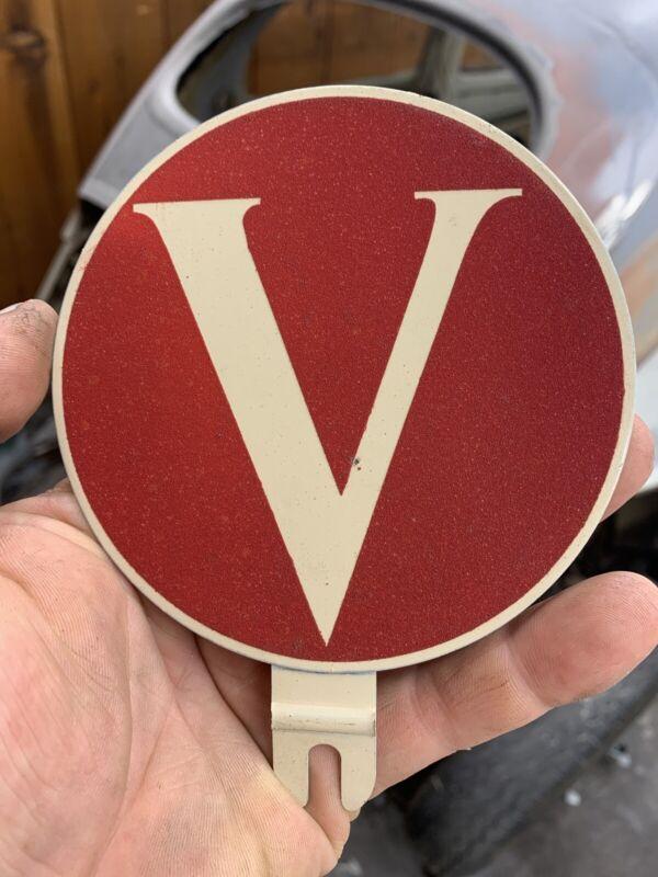 Vintage V Victory License Platter Topper WW2 Victor Volkswagen Violet Valerie VW