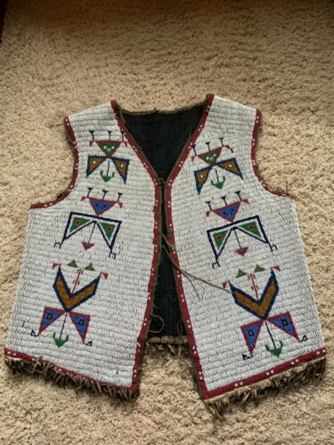 Antique old Sioux Fully Beaded Sioux Vest. C. 1900
