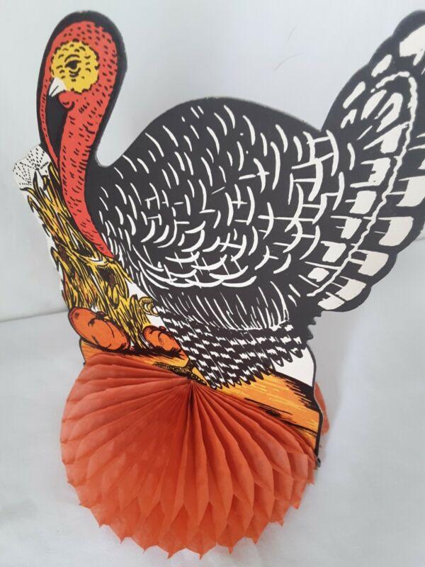 "Vtg HoneycombTurkey Centerpiece Thanksgiving Gobbler Paper USA 8"""