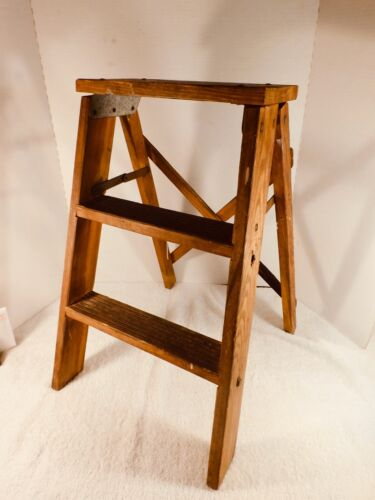 Vintage Wooden 2 Step Ladder, Repurpose? Plant Stand?