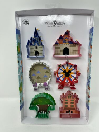 Disney Parks Attractions Icons Cookie Cutter Set of 6 Castle Spaceship Earth NWT