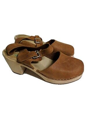 Lotta From Stockholm 39 (US Size Woman's 8.5) Brown / Tan Shoes Highwood Clogs