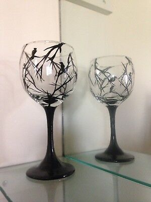 Wine glass Black Branch And Birds art work set Of 2 Safe in dishwasher