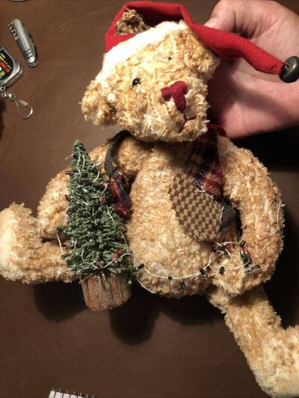 "VTG 80's handmade sitting bear 9 1/2""  Christmas theme"