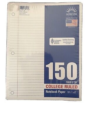 Normcon College Ruled Lined Filler Paper 150 Sheets New 10.5 X 8 Made In Usa