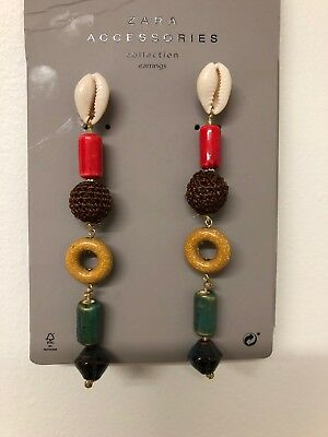 New ZARA Brown Multi Color Contrasting Beaded Shell Dangled Earrings Details 954