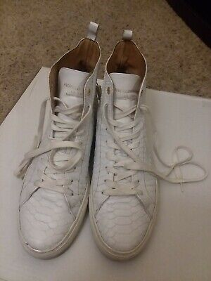 Android Homme White Handmade Reptile Texture Leather sneakers size 45, 10.5