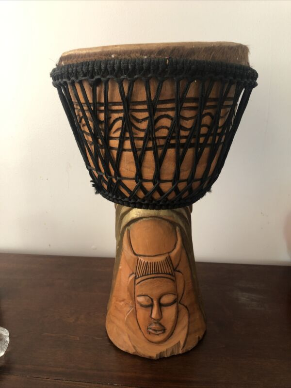 "AUTHENTIC LARGE 24"" TALL DJEMBE DRUM WOOD SHELLL WITH PADDED CARRY CASE"