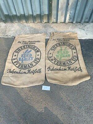 Pair of Vintage Farm Hessian Sacks Retro Collectable Bag Norfolk Barley Wheat