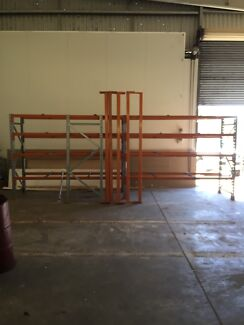 Factory commercial shelving 8.7 meters long. 3 bays in total