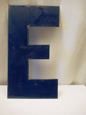 """Vintage Metal Enamel Letter E Advertising Sign Porcelain Petrol Pump Gasoline """"5"""