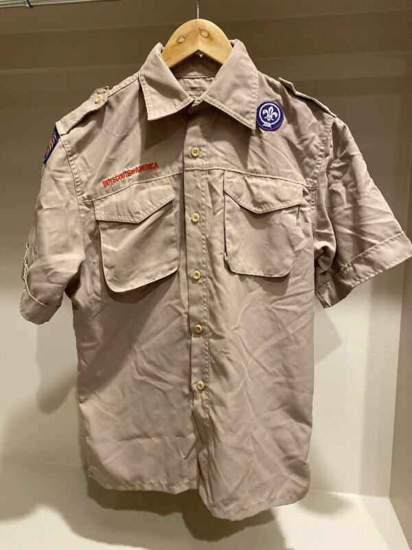 Vented Boy Scout BSA UNIFORM SHIRT Youth Large Poly New Style D4