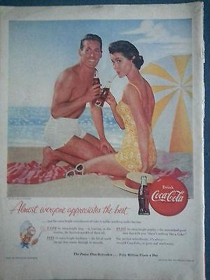 1958 Coca Cola Bottle Beach Scene Pretty Woman Yellow Swimsuit Original Color Ad