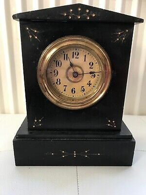"antique victorian Inlayed Slate Mantle Clock 91/4""high 71/2""wide 31/2""deep"