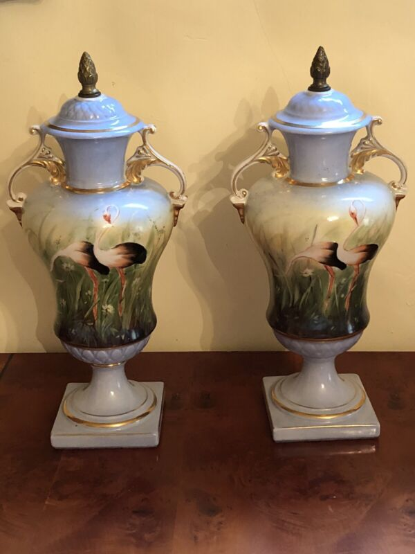 Antique American Hand Painted Set Of Porcelain Vases ( Urns),signed