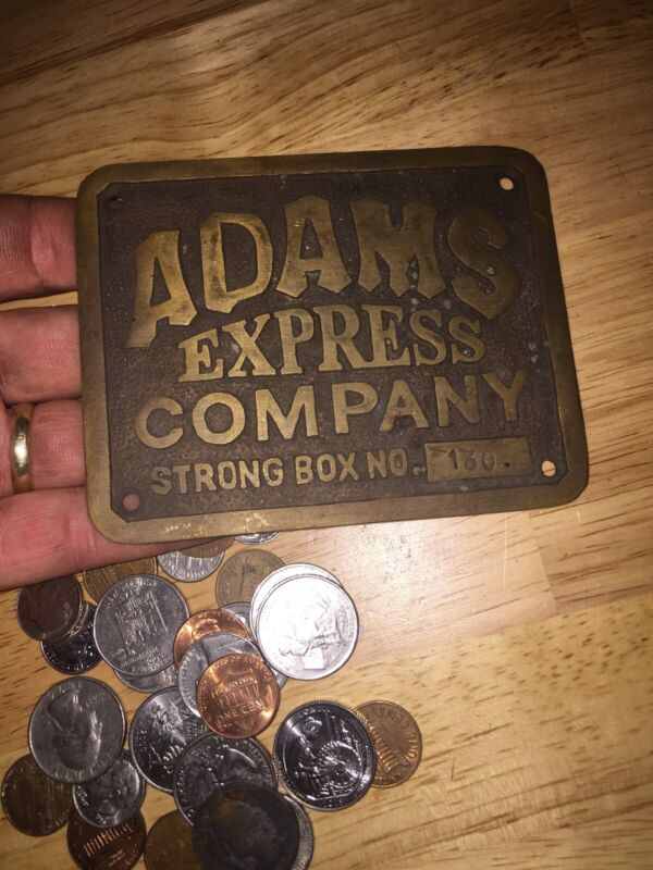 """Adams Strong Box Sign Plaque Express Company Brass Solid Metal 1/4"""" Thick GIFT"""