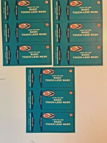 9 Delta Sonic Brushless Car Wash Tickets-never expire,Sale price