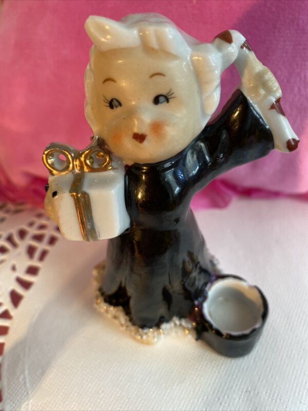 Vintage Girl Holding Present Candy Cane  Christmas Figurine Black  Japan