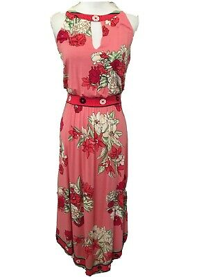 Winter Weekend Dresses (Soma Womens S Coral Floral Maxi Dress Asymmetrical Hem Stretch Casual)
