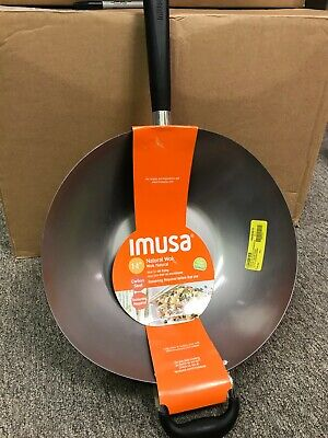 """IMUSA 14"""" Traditional Natural Interior Wok with Helper Bakelite Handle Silver 🔥"""