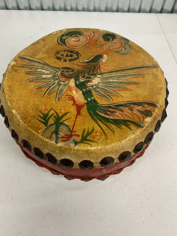 Double Sided Chinese Hand Painted Dragon & Phoenix Drum Vintage Percussion Beat