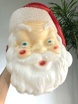 Vintage 1968 Christmas EMPIRE Plastic BLOW MOLD 1960s SANTA CLAUS Face Light Up
