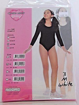 Medium Child White Music Legs Leotard Bodysuit Dance Practice Recital - Halloween Dance Practice