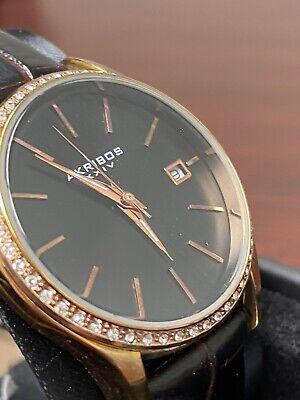 Women's Akribos XXIV AK883 Date Crystal Bezel Leather Strap Watch *SOLD AS IS*