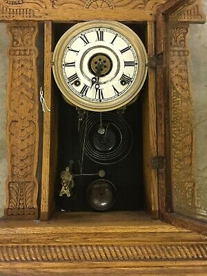 Antique Oak Carved WATERBURY GINGERBREAD Mantle Clock